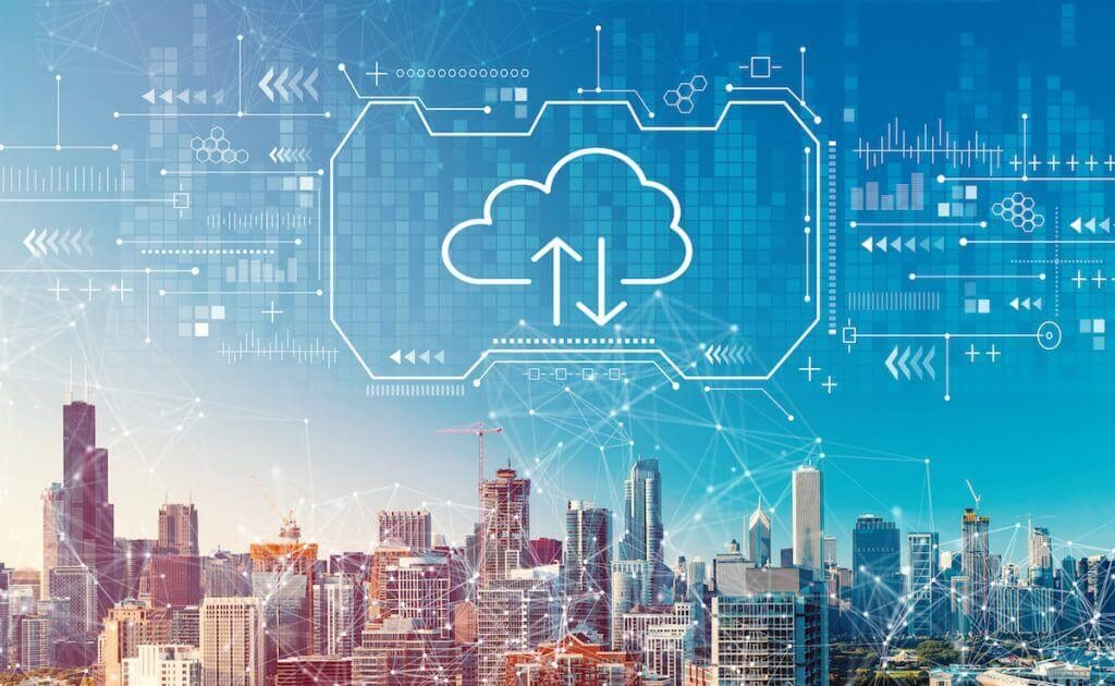 Cloud computing with downtown Chicago cityscape | Sydneo